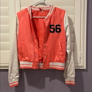 Neon coral and cream letterman jacket